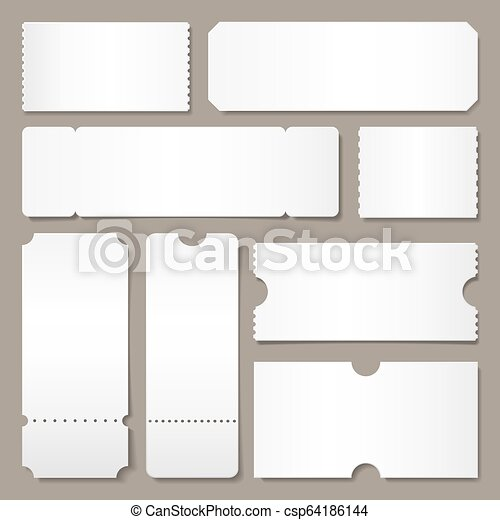 Blank Ticket Template Festival Concert Tickets White Paper Coupon Card Layout And Cinema Admit One Sheet Isolated Vector Canstock
