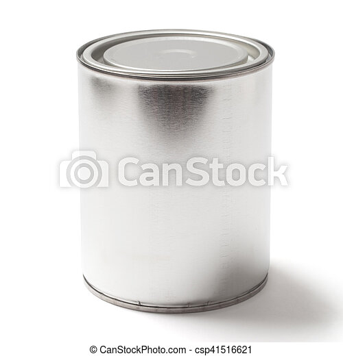Blank Tin Paint Can on White with a Clipping Path - csp41516621