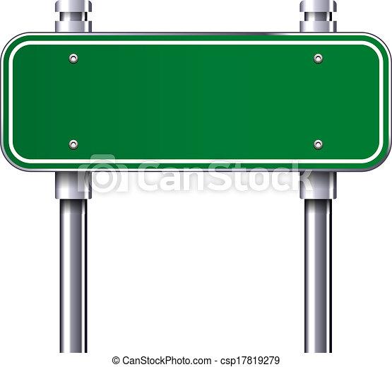blank traffic road sign blank green traffic road sign