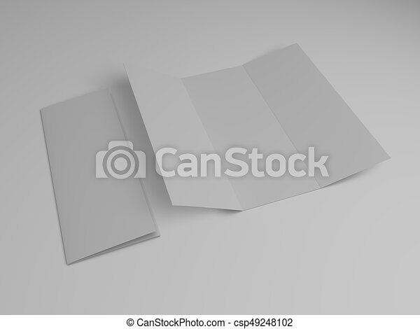 blank tri fold brochure design template 3d rendering