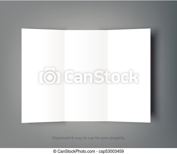 blank tri fold brochure mock up portrait cover isolated