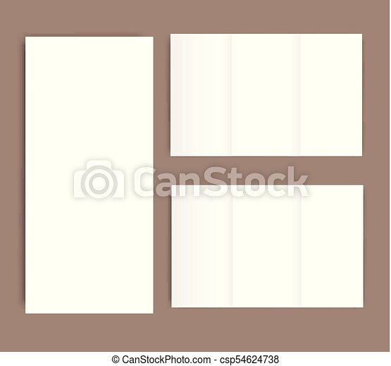 blank tri fold brochure mock up portrait cover isolated vectors