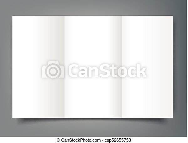 blank tri fold brochure mockup cover template isolated