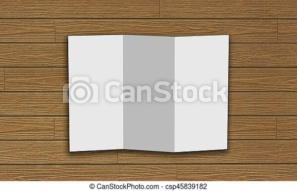 Blank trifold white template paper on wood background with soft ...