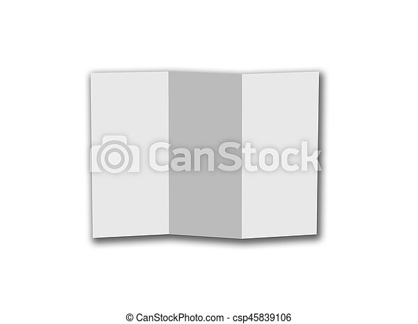 Blank Trifold White Template Paper Isolated On White Background With