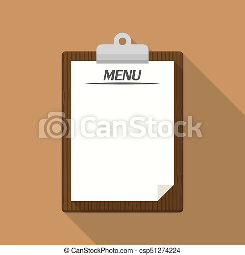 Blank Vintage Clipboard Menu Restaurant Template Retro Design Vector Illustration