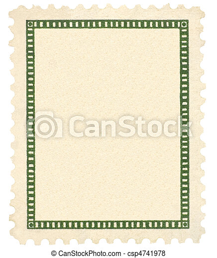 Blank Vintage Postage Stamp And Green Vignette Macro, Isolated - csp4741978