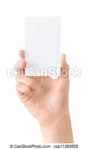 Blank visit card in hand isolated - csp11380828