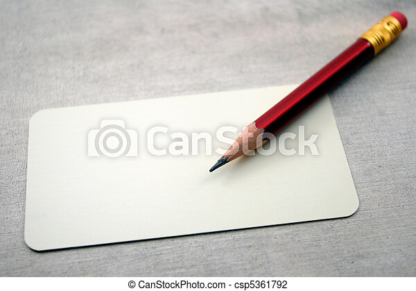 Blank visit card with pencil - csp5361792