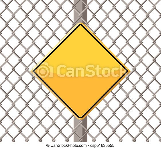 blank warning sign on wire fence - csp51635555