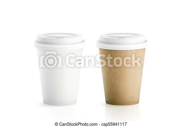 Blank White And Brown Disposable Paper Cups With Plastic Lid Mock