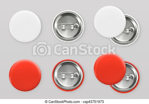 Blank white and red badges. Pin button. 3d vector realistic mockup - csp43751973