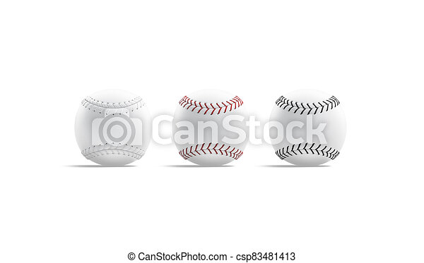 Blank White Baseball Ball With Seam Mockup Side View 3d Rendering Empty Cow Hide Softball For Usa National Sport Mock Up Canstock