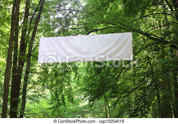 Blank white board banner green trees - csp10254019