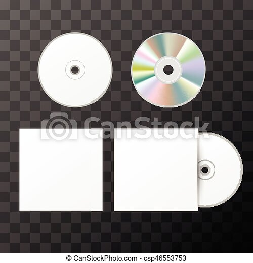 Blank white compact disk from two sides and cover mockup template on ...