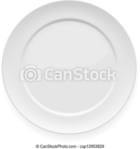 Blank white dinner plate - csp12953829