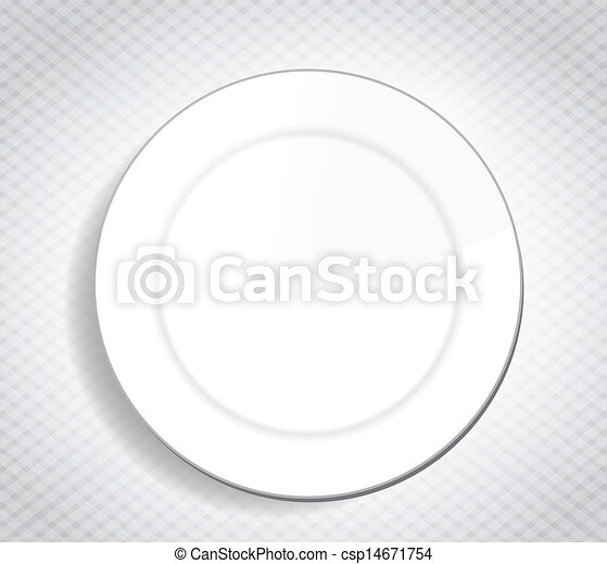 blank white dinner plate over a cloth - csp14671754