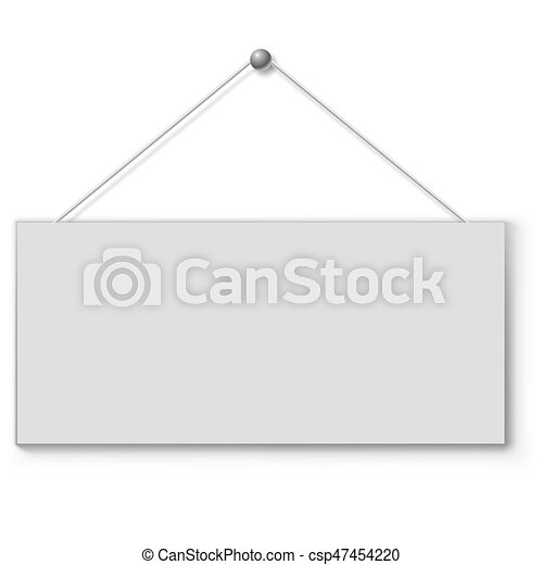 Blank white door plate hanging on the string. - csp47454220