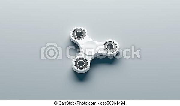 blank white fidget spinner mock up side view 3d rendering clear