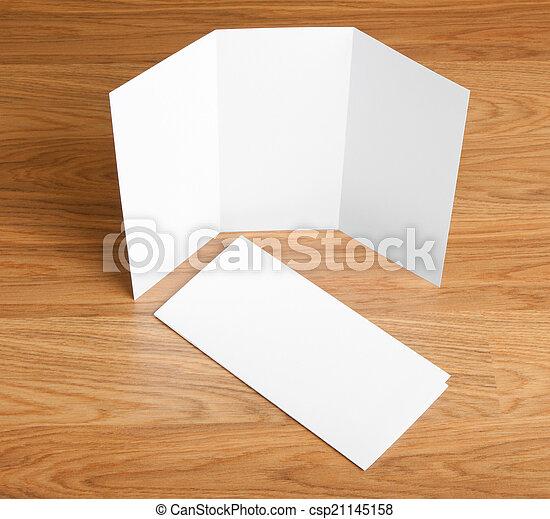 blank white folding paper flyer - csp21145158