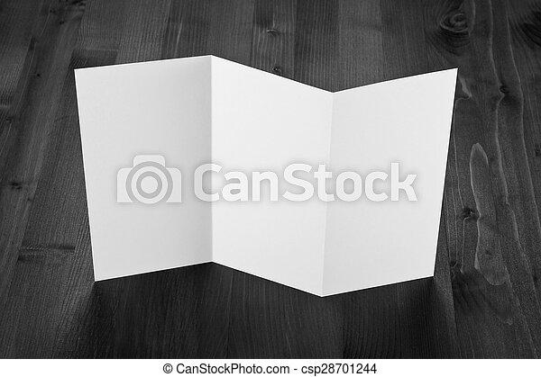 blank white folding paper flyer - csp28701244