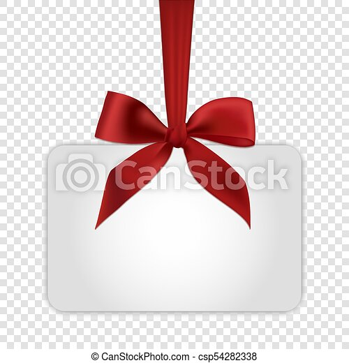 Blank White Gift Card Template With Red Bow Blank White  Vectors