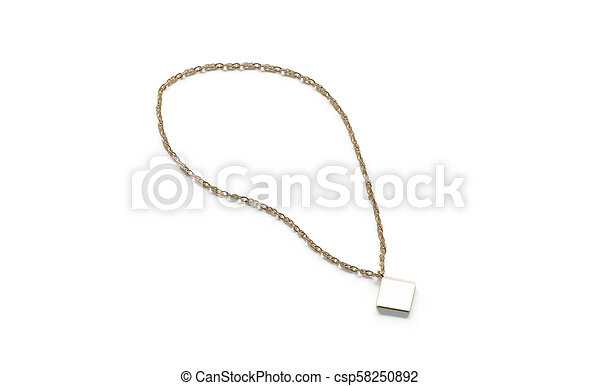 Blank white golden pendant rhombus mockup isolated,