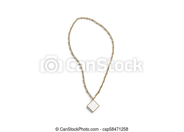Blank white golden pendant rhombus mockup top view isolated,