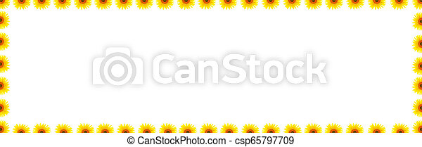 Blank white page decorated with sunflowers - csp65797709