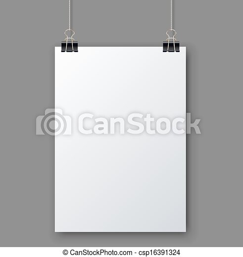 Blank white page hanging against grey background vector template. - csp16391324