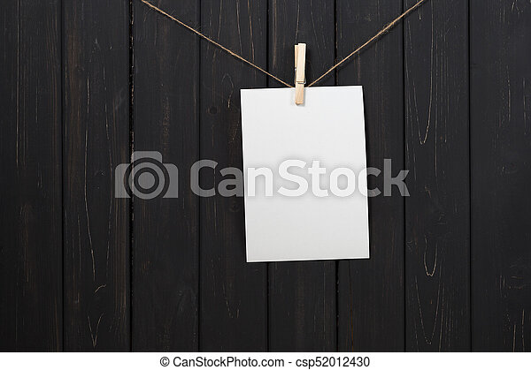 Blank White Paper Card Hanging On Clothespins Blank White Paper