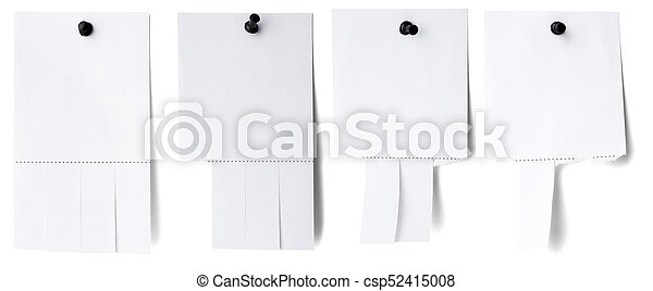 Blank white paper with tear off tabs isolated on white stock