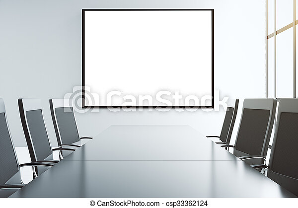 Blank white picture frame on the wall of conference room with furniture, mock up - csp33362124