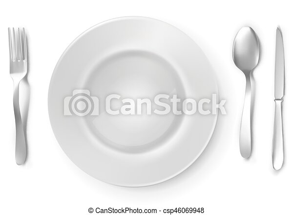 Blank white plate with silver fork, spoon and knife. - csp46069948