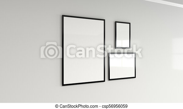 dfecebe68ad ... Stock Illustration. Blank white poster in black frame on the wall -  csp56956059