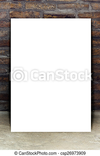 Blank White Poster Leaning on Brick Wall - csp26973909
