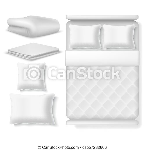 Blank white realistic bedding top view. Bed with blanket, pillow, linen and folded towel. Vector illustration isolated - csp57232606
