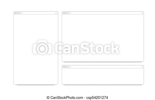 Blank white responsive browser window mockups isolated