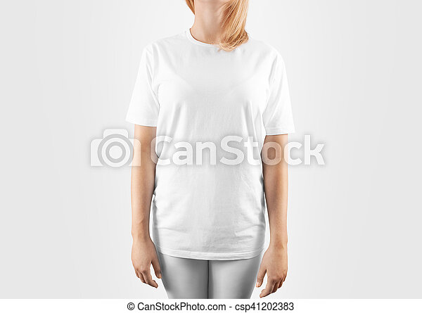 Blank White T Shirt Design Mockup Isolated Clipping Path Women Tshirt Clear Template Front Mock Up Empty Female Apparel Uniform Singlet Model Sweat Tee