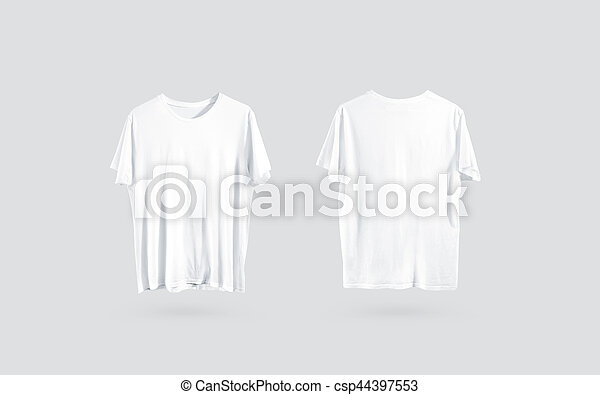 Blank White T Shirt Front And Back Side View Design Mockup Clear