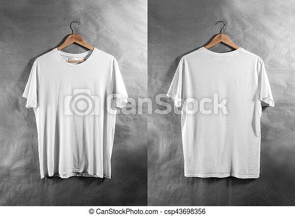 Blank white t-shirt front back side view hanger, design mockup ...