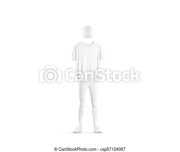 blank white uniform design mockup isolated empty cap t shirt pants and shoes mock up clear delivery boy or baseball player outfit dress template
