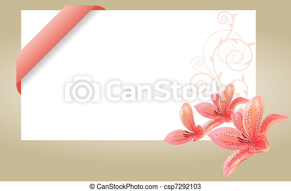 Blank white visit card with pink ribbon and lilies - csp7292103