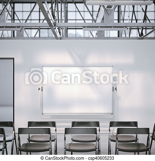 Blank Whiteboard In Modern Conference Room D Rendering Blank - Whiteboard conference table