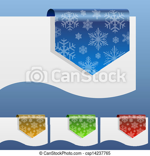 Blank winter discount labels bent around paper edge with snowflake shapes. - csp14237765
