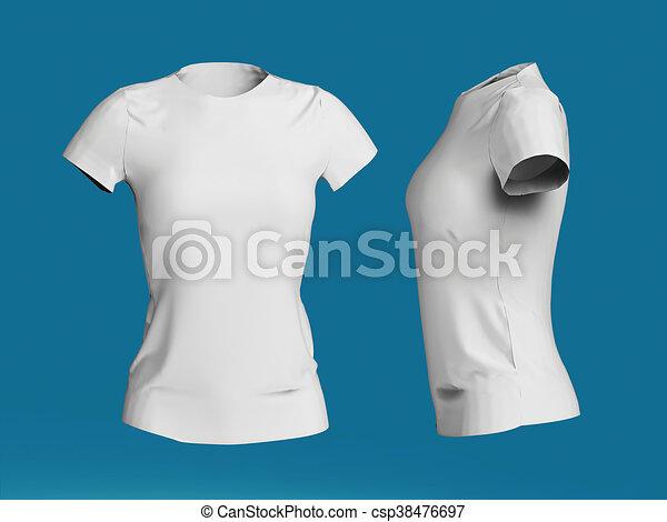 b5c8bc4bd blank women T-shirt template isolated 3d render.Promo girls uniform mockup.