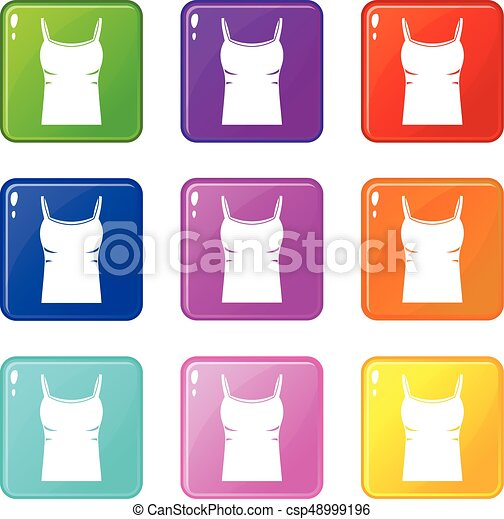Blank women tank top icons 9 set - csp48999196