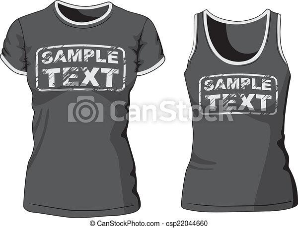Blank Women's t-shirt and singlet. Vector  - csp22044660