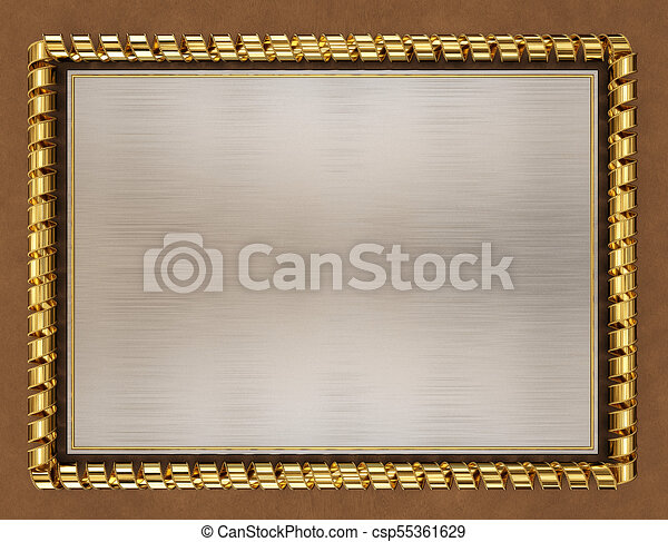 Blank wooden frame and border trimmed with gold ribbon. 3d illustration.