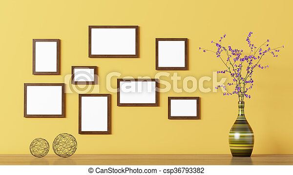 Blank wooden frames over yellow wall 3d rendering. Blank wooden ...
